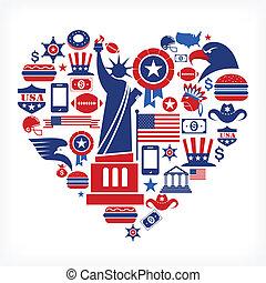 cuore, amore, icone, molti, -, forma, vettore, america