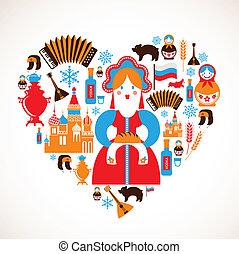 cuore, amore, icone, -, vettore, russia