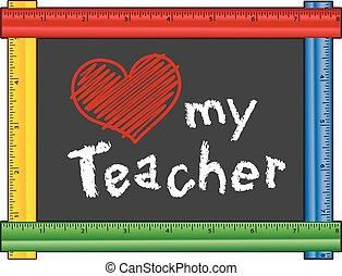 cuore, amore, mio, insegnante, righello, cornice