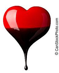 cuore, amore, perdendo, cioccolato, forma, sciroppo
