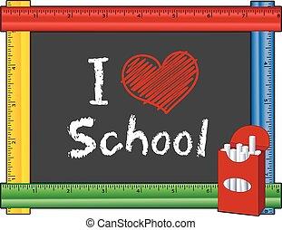 cuore, amore, scuola, righello, cornice