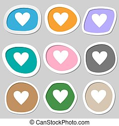 cuore, amore, segno, simbolo., variopinto, carta, vettore, icon., stickers.