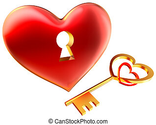 cuore, amore, simbolo, metalic, buco serratura, rosso