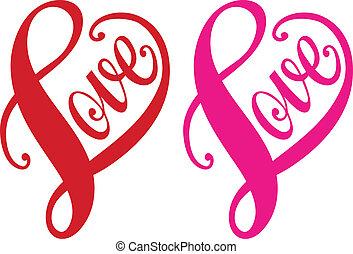 cuore, amore, vettore, rosso, disegno