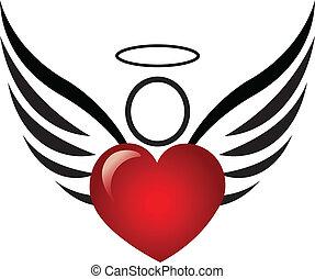 cuore, angelo, logotipo