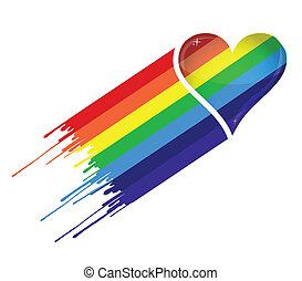 cuore, arcobaleno, inchiostro