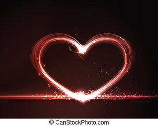 cuore, ardendo, rosso