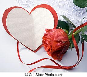 cuore, arte, augurio, rose, scheda rossa
