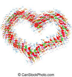 cuore, astratto, bianco, isolato, colorito