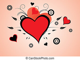 cuore, astratto, fondo, floreale