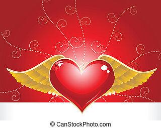 cuore, astratto, impresa, rosso, dorato