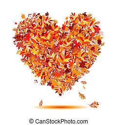 cuore, autumn!, foglie, forma, amore, cadere