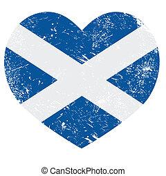 cuore, bandiera, scozia, retro