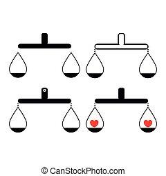 cuore, bilancia, nero, articolo, equilibrio, set, colorare, o, uno