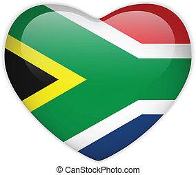 cuore, bottone, africa, bandiera, lucido, sud