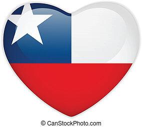 cuore, bottone, bandiera, cile, lucido