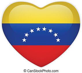cuore, bottone, bandiera venezuela, lucido