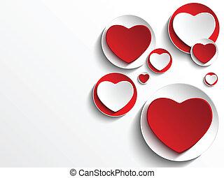 cuore, bottone, bianco, giorno, valentina