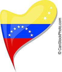 cuore, bottone, forma., bandiera, vettore, venezuela