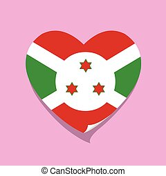 cuore, burundi, amore, bandiera