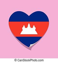 cuore, cambogia, amore, bandiera