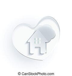 cuore, casa, albero, logotipo, bianco