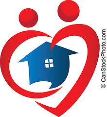 cuore, casa, figure, logotipo, icona, vettore, disegno