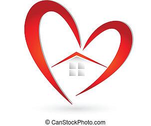 cuore, casa, vettore, logotipo