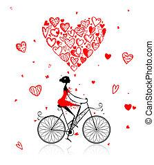 cuore, ciclismo, grande, valentina, ragazza, giorno, rosso