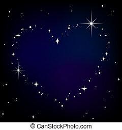 cuore, cielo, stella, notte