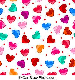 cuore, colorito, modello, sopra, seamless, forma, nero, divertimento