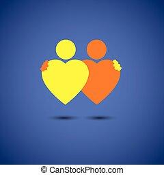 cuore, concetto, amore, abbraccio, coppia, profondo, vettore, amicizia, icona
