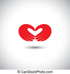 cuore, concetto, amore, formare, simbolo, -, vettore, mani, coppia