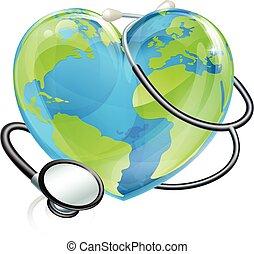 cuore, concetto, globo, stetoscopio, mondo, salute, terra