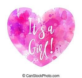 cuore, concetto, rivelare, è, -, acquarello, genere, ragazza