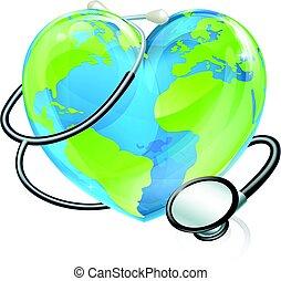 cuore, concetto, stetoscopio, globo, salute, mondo, terra