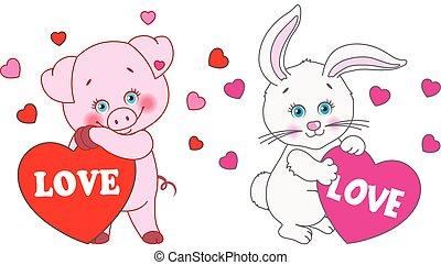 cuore, coniglio, valentine, maiale, day., vettore, caratteri, presa a terra