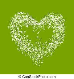 cuore, cornice, forma, verde, floreale, bianco