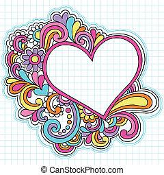 cuore, cornice, vettore, doodles, quaderno