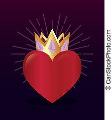 cuore, corona, rosso, premio, dorato