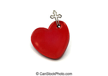 cuore, croce, rosso