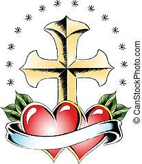 cuore, croce, tatuaggio