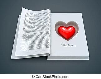 cuore, dentro, libro, aperto, rosso