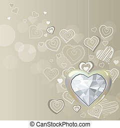 cuore, diamante, luce, grigio, fondo, appendere, argento