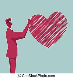cuore, disegnare, blue., simbolo., fondo, uomo affari