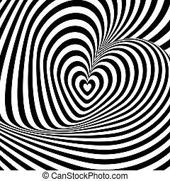 cuore, disegno, fondo, turbine, rotazione, illusione