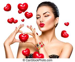 cuore, donna, lei, bellezza, esposizione, mano, moda, rosso