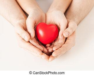cuore, donna, uomo, mani