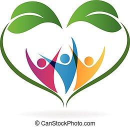 cuore, ecologia, amore, persone, mette foglie, logotipo