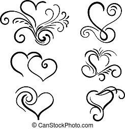 cuore, elementi, mano, vettore, turbine, disegnato